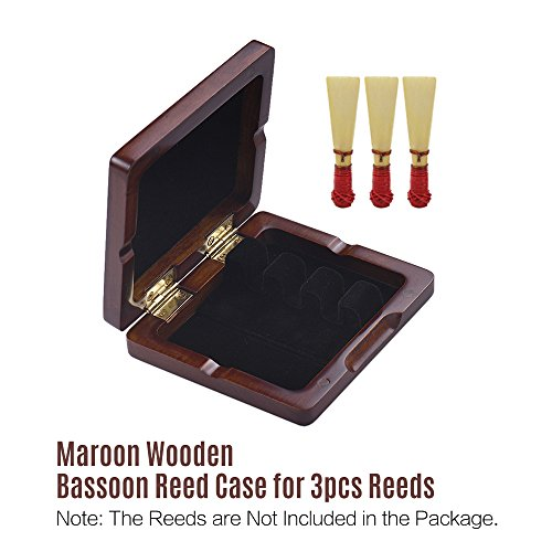 Bassoon Reed Case,Wooden Bassoon Reed Box Maroon Hand Carved for 3pcs Reeds by ammoon (Image #3)