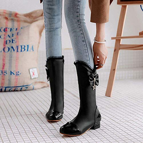 Low 2018 Winter Heel Boots Autumn Women New Boots Black Bow College Style QINGMM Casual qczTFc