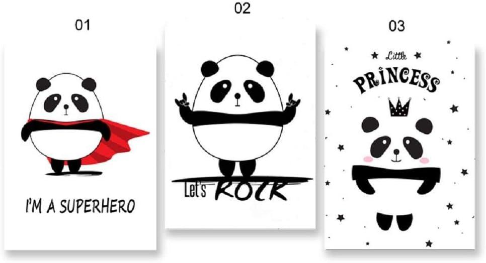 Carteles e impresiones de princesa de superhéroe Panda blanco y negro nórdico cuadro sobre lienzo para pared decoración del dormitorio de los niños del bebé 51x71cmx3 sin marco
