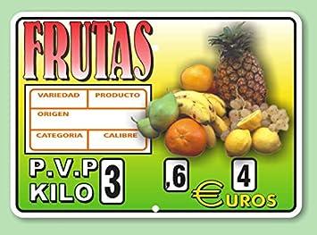 Cartel de Precios Frutería con Sujeción de Ganchos - 220x155 mm - Paquete 8 uds: Amazon.es: Hogar