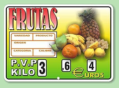 Cartel de Precios Frutería con Sujeción de Ganchos - 220x155 ...