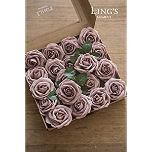 Ling's moment Artificial Rose Flowers 25pcs Dusty Rose Foam Roses with Stem for DIY Wedding Flower Arrangements Centerpieces Bouquets Outdoor Party Decorations 5