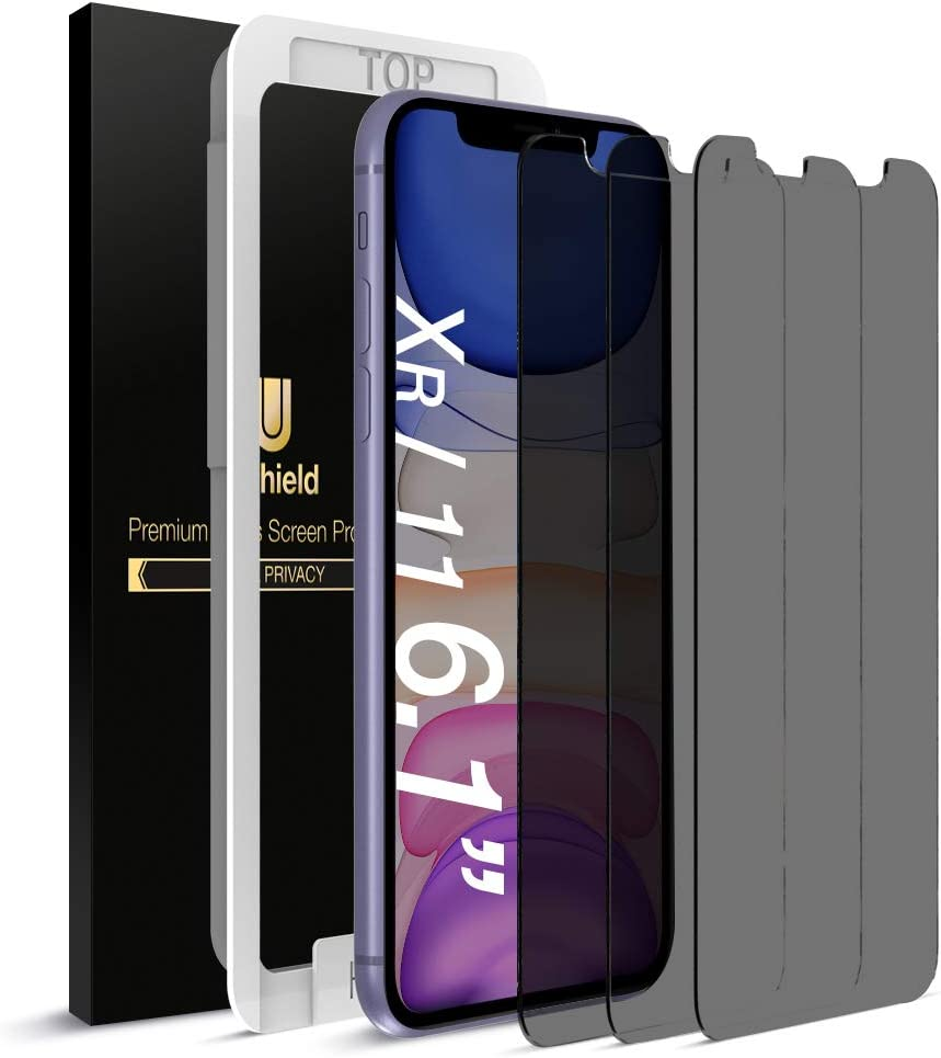 """uShield Privacy Screen Protector Compatible with Apple iPhone XR and iPhone 11 (6.1"""" Display) (w/Installation Frame) [Anti-Scratch/Spy] Tempered Glass Screen Protector (3Pack) [Fit with Most Cases]"""