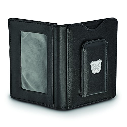 Clip Butler University Wallet Black Silver Leather Logoart Sterling Money qtE80