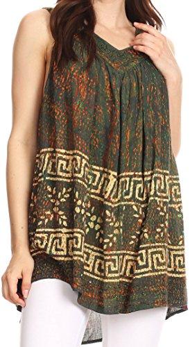 Sakkas S-4-85683 - Badalea Long Embroidered Sequin Beaded Batik Shirt Printed Tank Top Blouse - Dark Green - OS