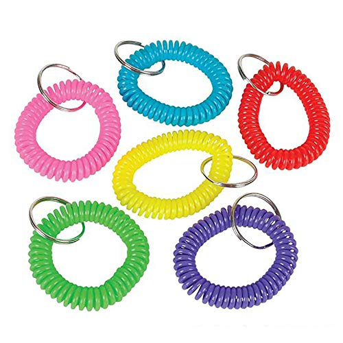 Kicko 2.5 Inch Spiral Keychain - 12-Pack Wristlet Key Holder - Keyring for Bag and Belt Loop Accessory, Back to School Item, Arts and Crafts, Educational Tool, Party Favors