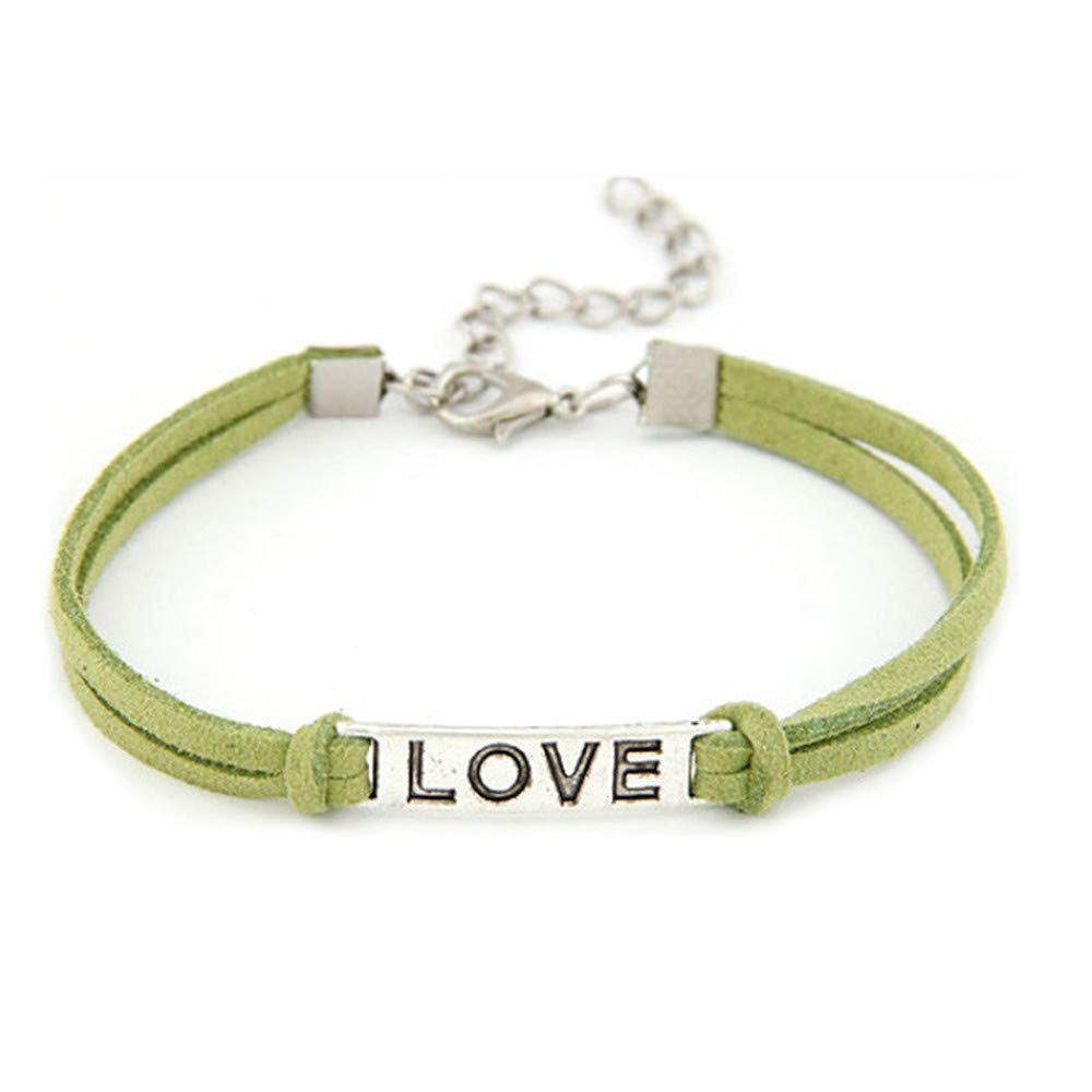 Jentouzz Love Infinity Leather Bracelets for Women Adjustable Good Gift for Valentine's Day (Green)