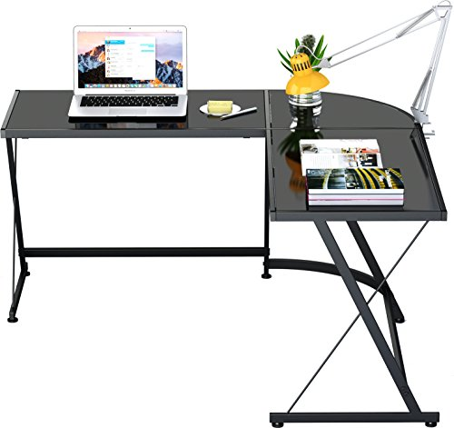 Bedroom Corner Desk: Black L-Shaped Corner Desk Home Office Steel Frame