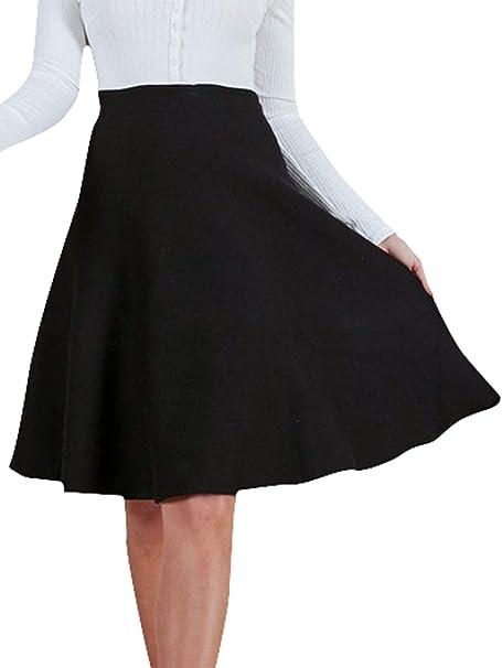fd306e7035 Fashiomo Women's High Waist Midi Skater Skirt Vintage A Line Flared Short  Skirt Black,S
