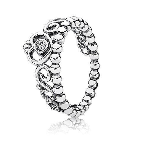 Pandora Jewelry Princess Tiara Crown Cubic Zirconia Ring In Sterling Silver, Size 7