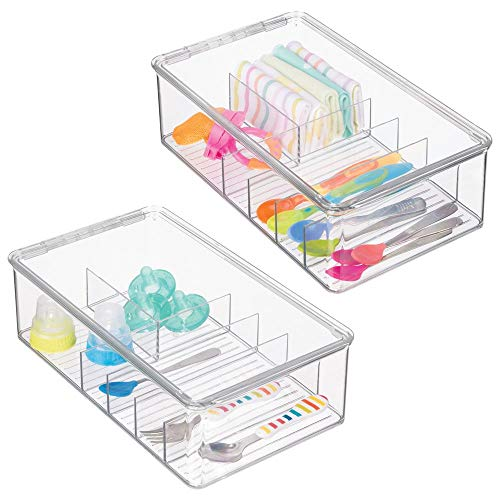 mDesign Stackable Plastic Storage Organizer Container for Kitchen Cabinets, Pantry, Countertops - Holds Kids, Child/Toddler Mealtime Sets, Small Accessories - 6 Sections - BPA Free, 2 Pack - Clear