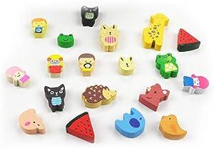19 pcs Creative Cartoon Refrigerator Magnets, Fridge Magnets Home Decoration, Cute Funny Magnets Wooden Mini Size