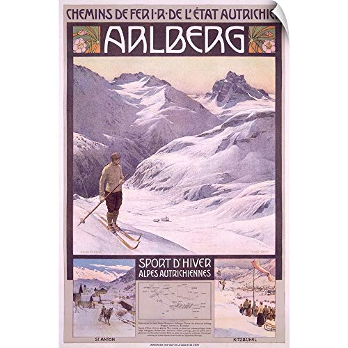 CANVAS ON DEMAND Arlberg Alpine Snow Ski, Vintage Poster Wall Peel Art Print, 12