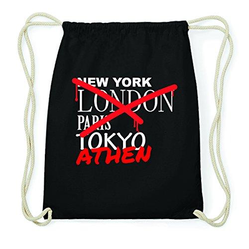 JOllify ATHEN Hipster Turnbeutel Tasche Rucksack aus Baumwolle - Farbe: schwarz Design: Grafitti F4adiiA