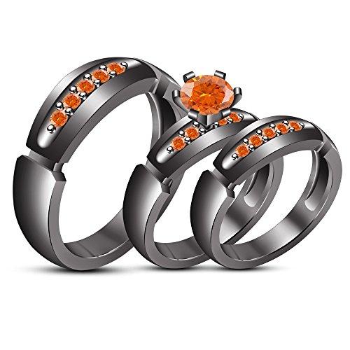 TVS-JEWELS Round Cut Created Gemstone Tiro Wedding Ring Set Black Rhodium Plated Sterling Silver (orange sapphire) by TVS-JEWELS