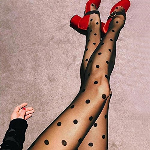 YABINA Women's Trend Sheer Dot Control Top Footed Tights Pantyhose (Dot) ()