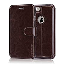 Belemay iPhone 6S Plus / 6 Plus Case, Genuine Cowhide Wallet Leather Case, Flip Cover with Magnetic Closure Credit Card Holder Kickstand Money Pouch for iPhone 6s Plus & iPhone 6 Plus - Coffee Brown