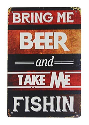 WholesaleSarong Bring me Beer take me Fishing tin Metal Sign Brewery bar Art Dream Garage