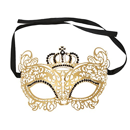 Venetian Costumes For Women (WINK KANGAROO Women's Laser Cut Metal Venetian Pretty Crown style Masquerade Masks (Gold Metal Black Stone))