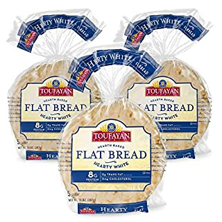 Toufayan Bakery, White Mediterranean Flat Bread for Gyros, Sandwiches, Paninis, Dip and Snacks, Naturally Vegan, Cholesterol Free and Kosher (Hearty White, 3 Pack)