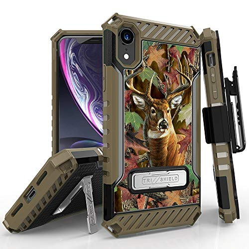 Trishield Series for iPhone XR Case, Military Grade Rugged Cover + [Metal Kickstand]+[Belt Clip Holster] for Apple iPhone XR 6.1 (2018)-Deer Outdoors Hunting Camo