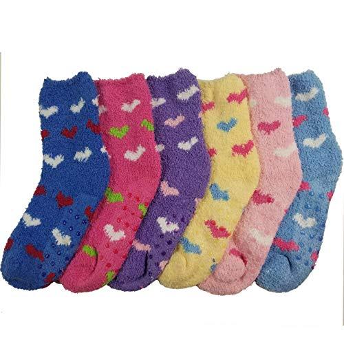 DEBRA WEITZNER Fuzzy Socks For Kids Non Skid Slipper Socks With Grips Hearts 4-6 yr 6 Pairs
