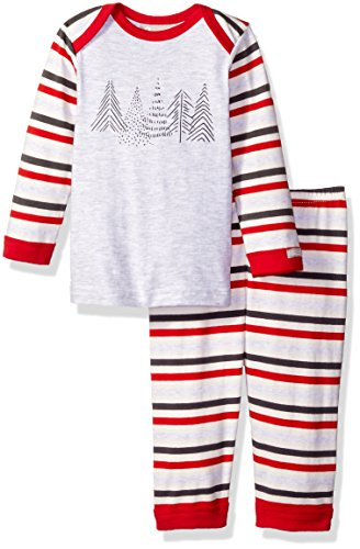 Multi Stripe Italian (Coccoli Baby Boys' Multi Stripe Jersey Knit Cotton 2 Piece Set, Heather Grey/Cranberry, 12 Months)