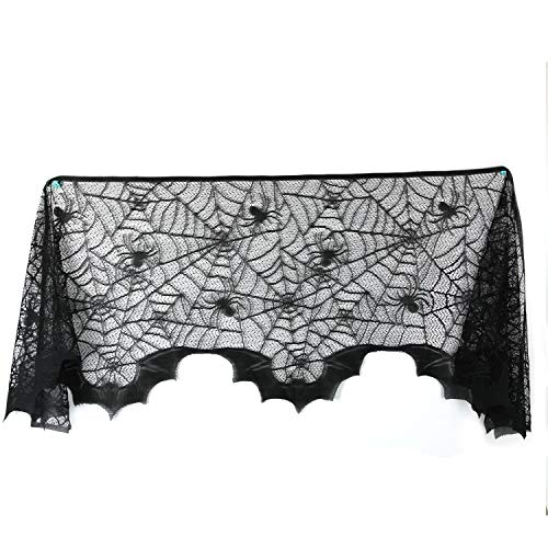 Gosear Fireplace Halloween Decorations, Mantel Scarf Net Pattern Bats Fireplace Mantle Piece Scarf for Halloween Christmas Festive Supplies Party Door Window Decoration Black for $<!--$6.54-->