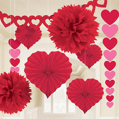 Price comparison product image Amscan Blushing Valentine's Day Paper Party Decorating Kit (Pack of 9), Red, One Size