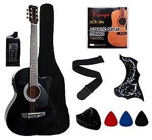 ymc 38 beginner acoustic electric guitar starter package cutaway style student. Black Bedroom Furniture Sets. Home Design Ideas