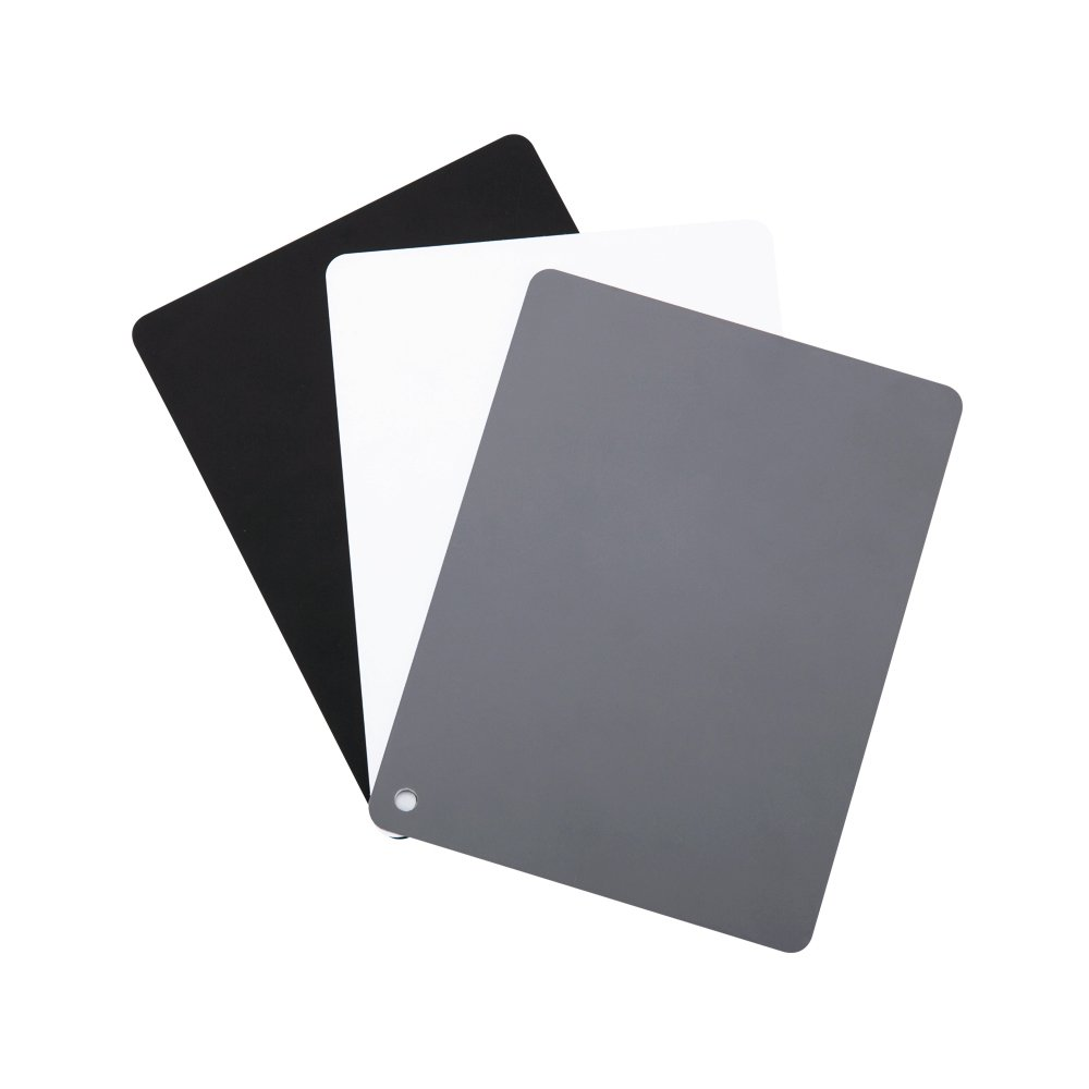 JJC 4' x 5.2' PVC White Balance Card Set for Achieving Perfect Color Balance in Your Photos - Including an 18% Neutral Grey Card, a White Card and a Black Card Topfoto GC-3
