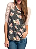 CEASIKERY Women's Blouse 3/4 Sleeve Floral Print T-Shirt Comfy Casual Tops For Women, Floral 002, (US 4-6) Small