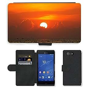 Just Phone Cases PU LEATHER case coque housse smartphone Flip bag Cover protection // M00421719 Sea cielo se nubla la puesta del sol // Sony Xperia Z4 E6553