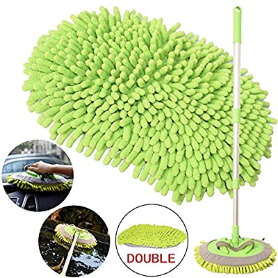 2-in-1 Car Wash Mop Mitt with Long Handle, Chenille Microfiber Car Wash Dust Brush Extension Pole Adjustable Length 24in-46in, Scratch Free Tool for Cleaning Truck, Total 2 Pcs Replacement Mop Head: Automotive