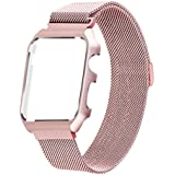 LikeItY For Apple Watch Band Milanese Loop, Stainless Steel Magnetic Band With Metal Case For Apple Watch Series 1/2 - Shockproof Protective Bumper Replacement Strap(38mm Rose Gold)