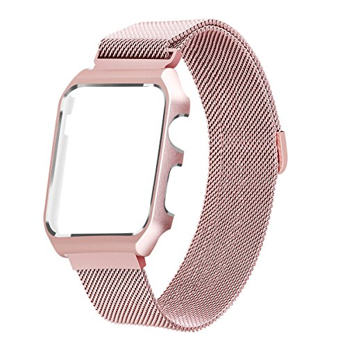 LikeItY Compatible for Apple Watch Band Milanese Loop, Stainless Steel Magnetic Band with Metal Case for iWatch Series 1/2 - Shockproof Protective Bumper Replacement Strap(38mm Rose Gold)