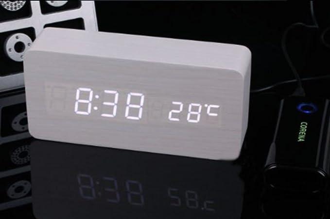Amazon.com: Coondmart LED Wooden Alarm Clock, Digital Watch Despertador Desktop Saat Clock,reloj Table Alarm Clock AAA/USB: Home Audio & Theater
