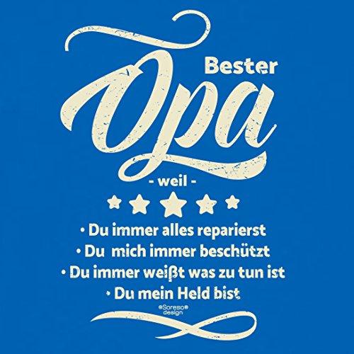 Großvater Fun-T-shirt als Top Geschenk mit GRATIS Urkunde - Bester Opa weil Farbe: royal-blau Gr: S