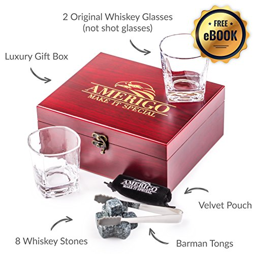 Impressive Whiskey Stones Gift Set with 2 Glasses - Be Different When Choosing a Gift - Luxury Handmade Box with 8 Granite Whiskey Rocks, Ice Tongs & Velvet Bag - Ice Cubes Reusable - Best Man Gift by Amerigo (Image #2)