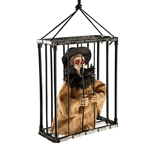 Carnival Toys 8989 - Screaming Ghost in Cage of App with Bright Eyes, Sound and Movement, 30 cm, Multi-Colour