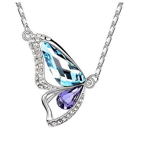 [The Starry Night Color Crystal Butterfly Lovers Diamond Accented 18k Insect Necklace for Fashion Womens] (Parrot Costume Wings)