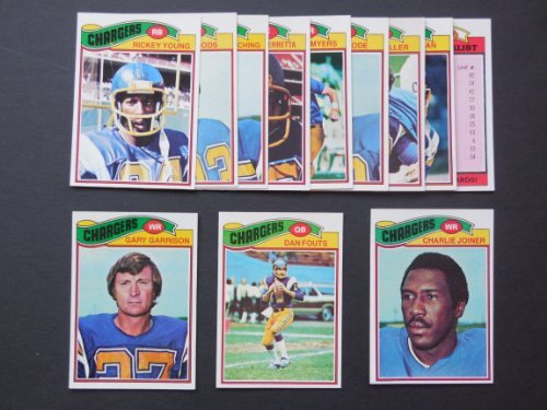 1977 Topps San Diego Chargers Football Team Set (Dan Fouts) (Gary Garrison) (Charlie Joyner) (Chip Meyers) (Ray Wersching) (Ricky Young) and More
