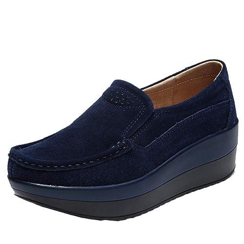 Mocasines de Plataforma Plana para Mujer Zapatos de Gamuza de Cuero para Mujer Zapatillas sin Cordones Mocasines de cuña para Mujer: Amazon.es: Zapatos y ...