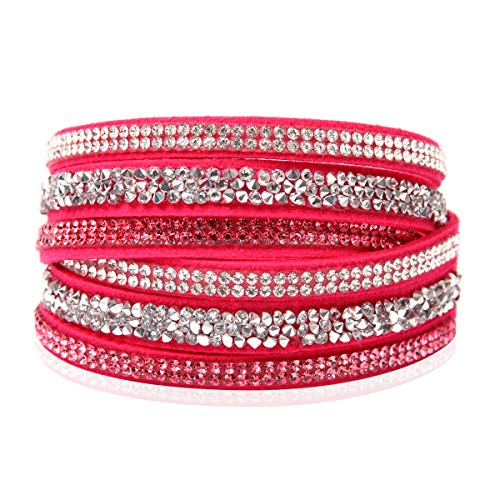 - RIAH FASHION Bohemian Faux Suede Leather Wrap Multi Layer Bracelet - Boho Wrist Adjustable Cuff Bangle Crystal Rhinestone/Bead Embellishment (Crystal Mosaic - Hot Pink)