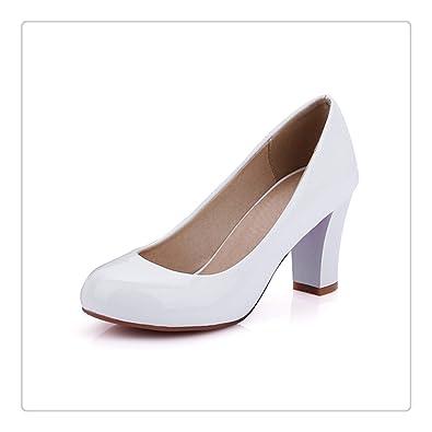 2dbb286842778 Amazon.com: High Heels Shoes Women Large Size 34-43 Round Toe Patent ...