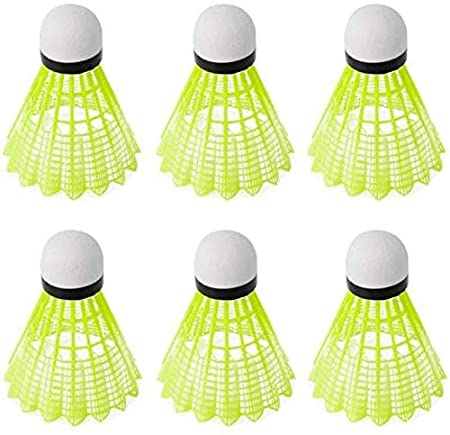 Nylon Shuttle Cocks Pack of 6 Colour Fluorescent Shuttlecocks
