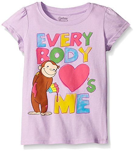 Curious George Little Girls' Toddler Short Sleeve T-Shirt, Lilac, 5T]()