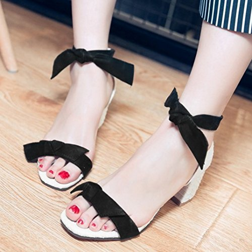 Summer fashion Ankle Sandals Heel TAOFFEN Women Strap with Bow Block Black g5XqU