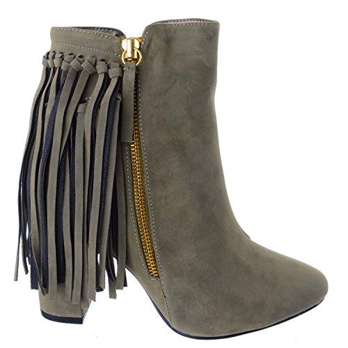 Womens Ladies UK borla Caqui up Tamaño con zapatos Zip Image Botines Chelsea Block MID HIGH Miss Suede de Heel de Faux Eq7t5z