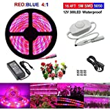 LED Plant Grow Light, Topled Light 16.4ft Grow Lamp with Rotate Dimmer for Indoor Plants, Full Spectrum SMD 5050 Red Blue 4:1 Growing Rope Light for Aquarium Greenhouse Hydroponic(5M)